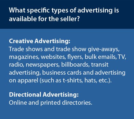Specific types of advertising.