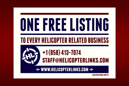 One free listing to every helicopter related business. Restrictions can apply.