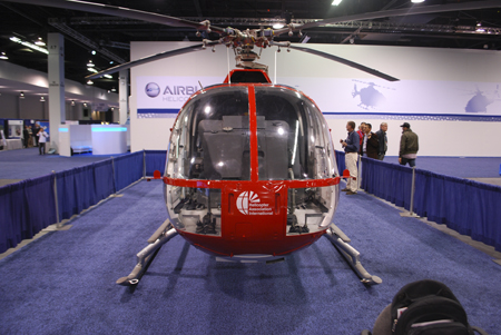 Chuck Aaron's helicopter on display at Heli-Expo 2014.