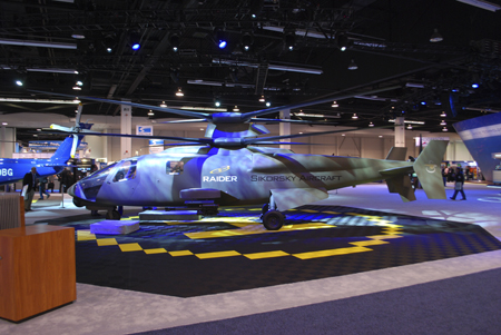 Sikorsky S-97 Raider military helicopter on display at Heli-Expo 2014.